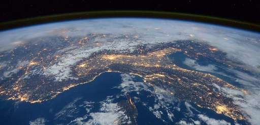 A space view of the Alps, Italy and