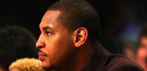 Carmelo Anthony of the New York Knicks looks