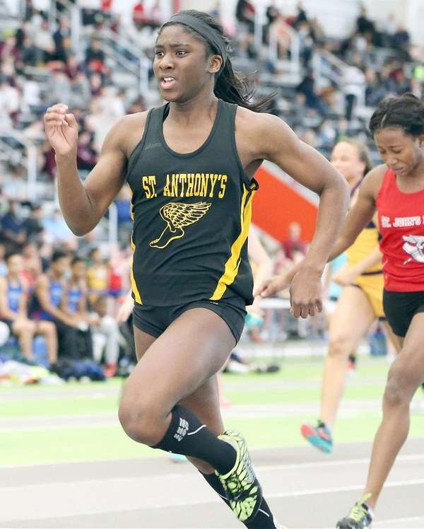 St. Anthony's Halle Hazzard wins the girls 55-meter