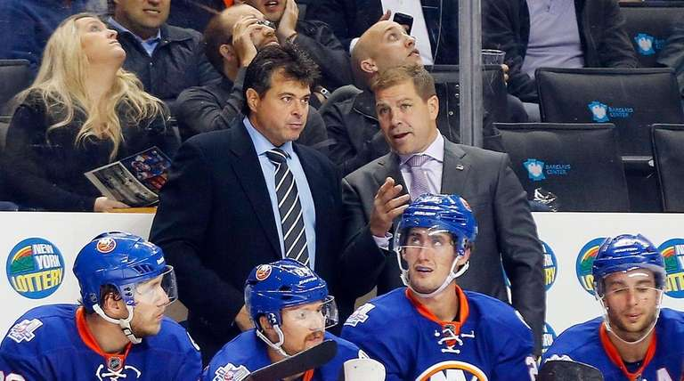 Jack Capuano and Doug Weight of the