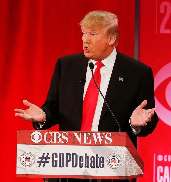 Republican presidential candidate and businessman Donald Trump speaks