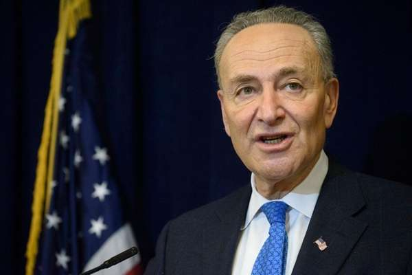 Sen. Chuck Schumer holds a news conference at