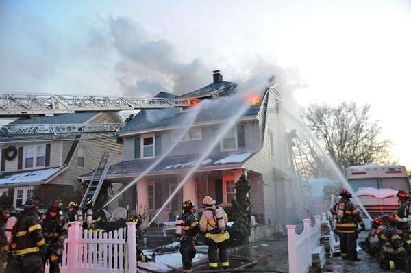 Firefighters respond to a blaze on Scranton Avenue