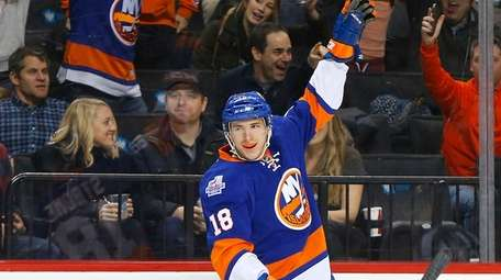 Ryan Strome of the New York Islanders celebrates