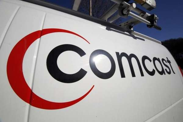 The Comcast logo on one of the company's