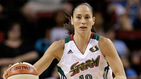 The Seattle Storm's Sue Bird dribbles the