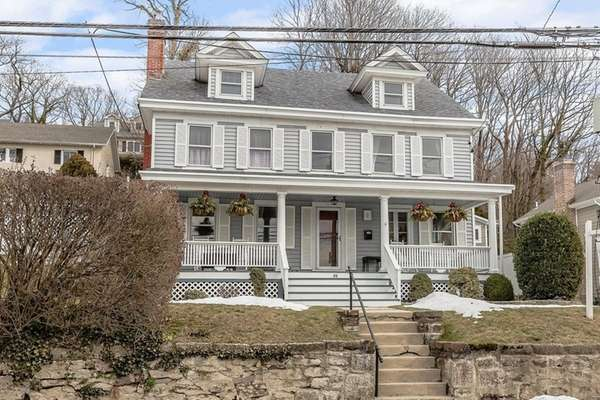 This three-story Northport home, which overlooks Northport Harbor,