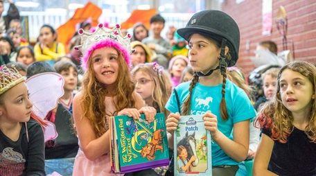 Old Bethpage Elementary School students Lena Hemmerdinger, 8,