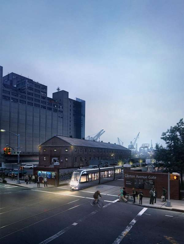A rendering of the proposed streetcar system, called