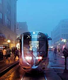 An artist's rendering depicts a proposed light rail
