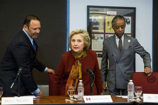 Democratic presidential candidate Hillary Clinton meets with Marc
