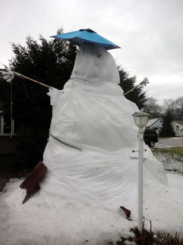 The 14-foot snowman outside the Massapequa Park home