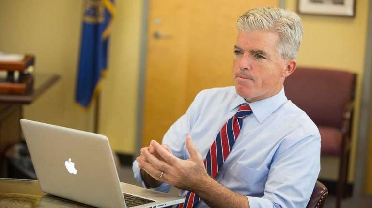 Steve Bellone sits in his office in