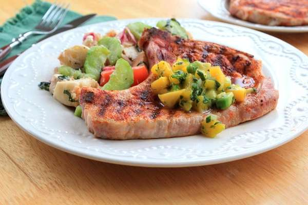Lean pork chops are pan-grilled and topped with