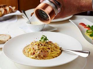 Spaghetti alla carbonara, a classic Roman dish, is