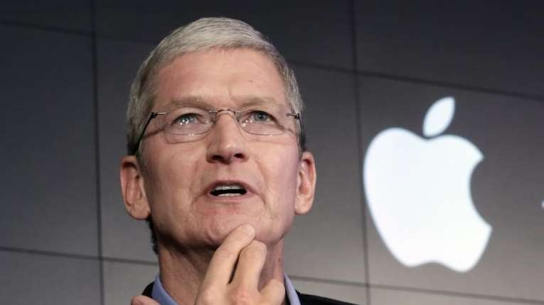 Apple CEO Tim Cook responds to a question