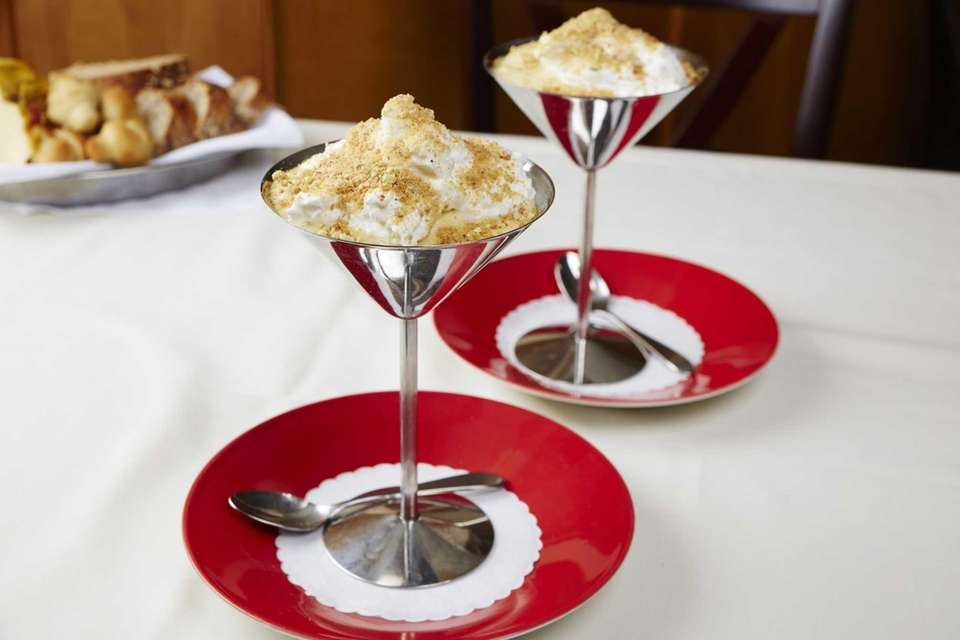 Franina, Syosset: Zabaglione with berries and crumbled biscotti