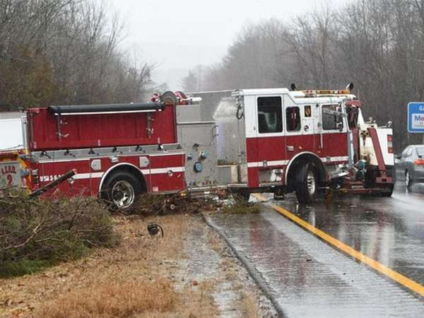 A new fire truck being delivered to Islip