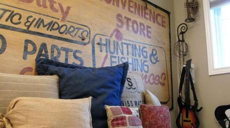 A headboard made from salvaged materials can add