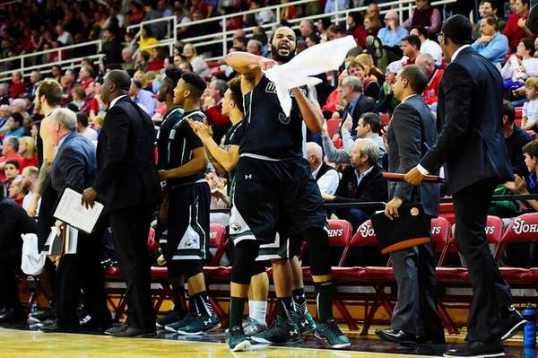 Wagner forward Henry Brooks (3) reacts after