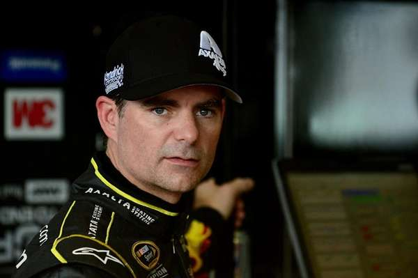 Jeff Gordon in the garage area during