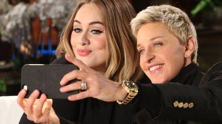Adele and Ellen DeGeneres take a selfie on