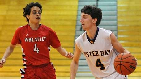 Mike Bizzoso of Oyster Bay looks to dribble