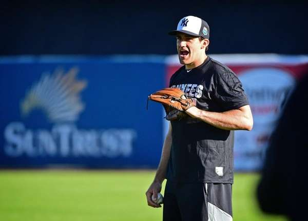 Yankees pitcher Nathan Eovaldi works out at George