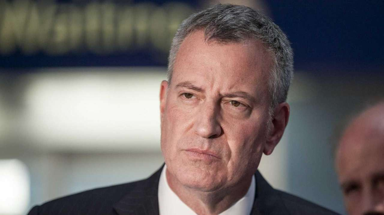 Mayor Bill de Blasio is seen at Penn