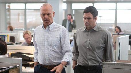Michael Keaton, left, and Mark Ruffalo are Boston