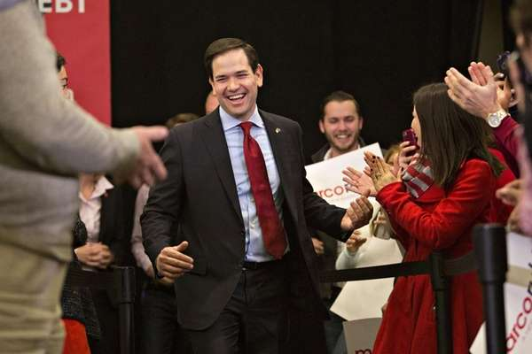 Florida Sen. Marco Rubio arrives to speak during