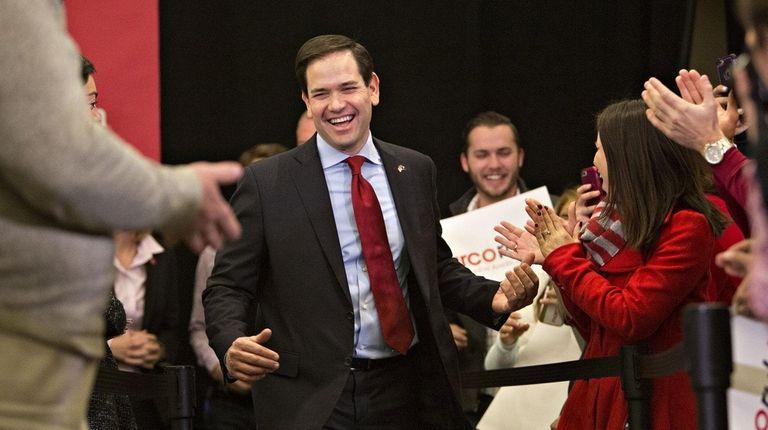 Florida Sen. Marco Rubio arrives to speak during