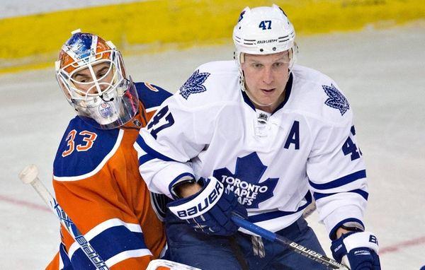 Toronto Maple Leafs' Leo Komarov tries to screen