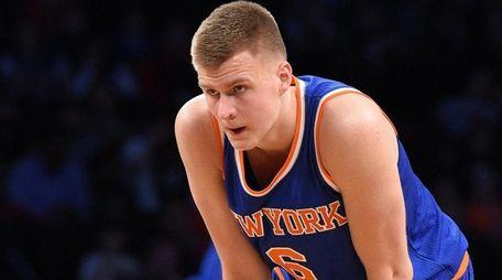 New York Knicks forward Kristaps Porzingis looks