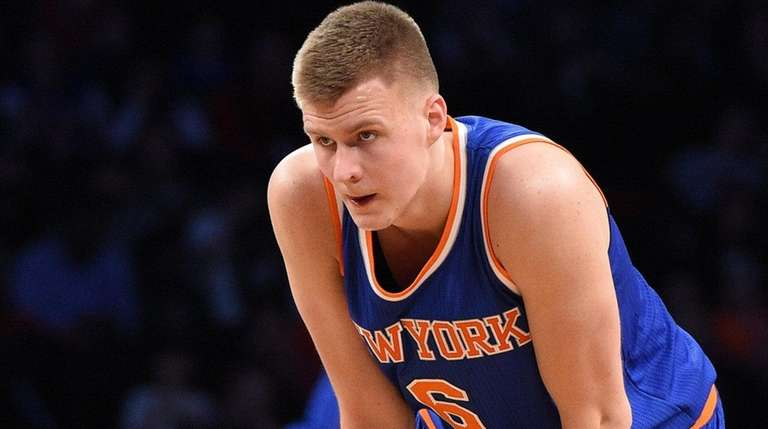 New York Knicks forward Kristaps Porzingis looks