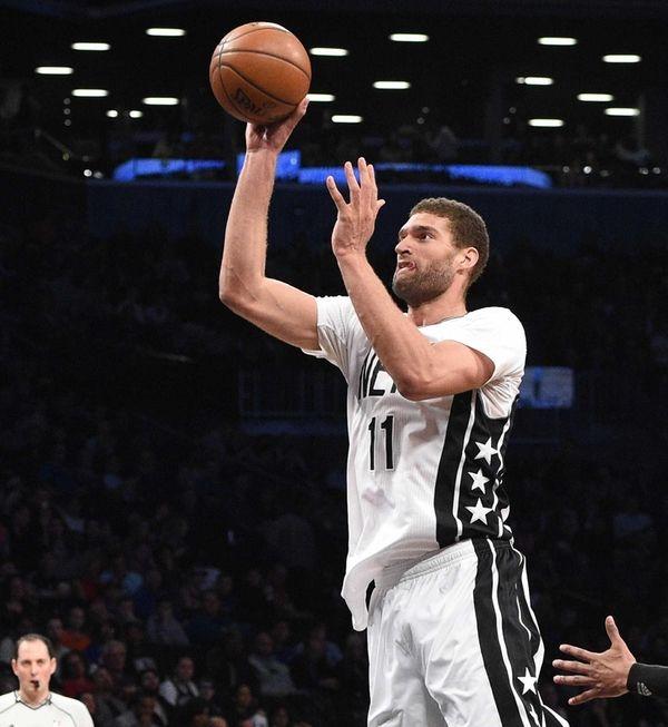 Brooklyn Nets center Brook Lopez sinks a shot