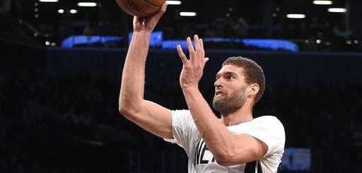 Brooklyn Nets center Brook Lopez sinks a shot