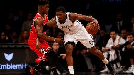 Joe Johnson of the Brooklyn Nets drives