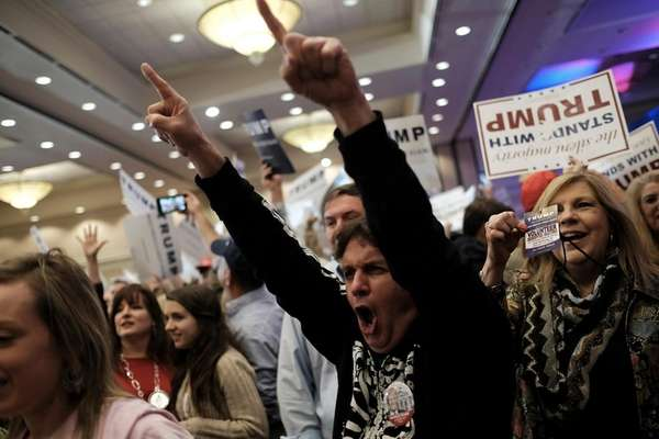 Supporters cheer as the South Carolina primary is