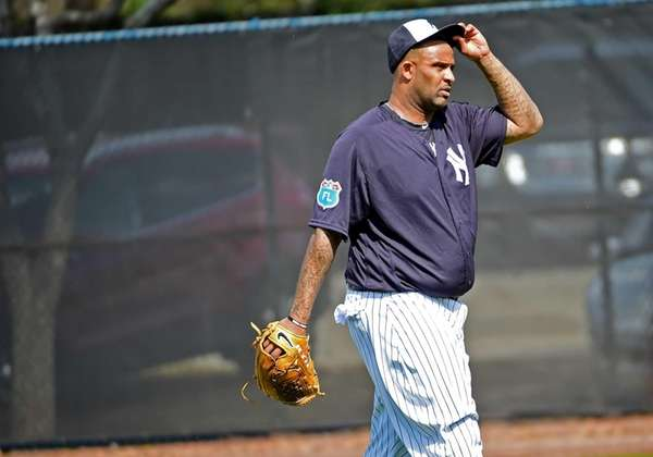 New York Yankees pitcher CC Sabathia works out