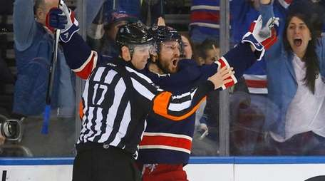 Kevin Klein of the New York Rangers celebrates