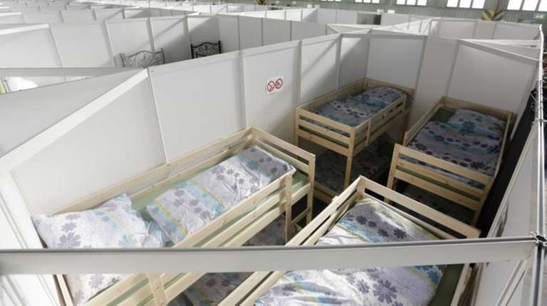 A temporary emergency shelter for migrants, refugees, and