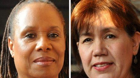 Hempstead school board trustees Gwendolyn Jackson, left, and