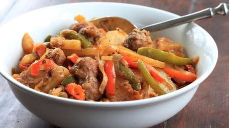 Turkey sausage, peppers, onions and potatoes make a