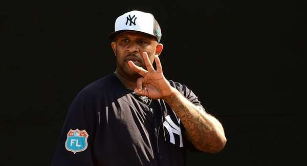 CC Sabathia throws a bullpen session during Yankees