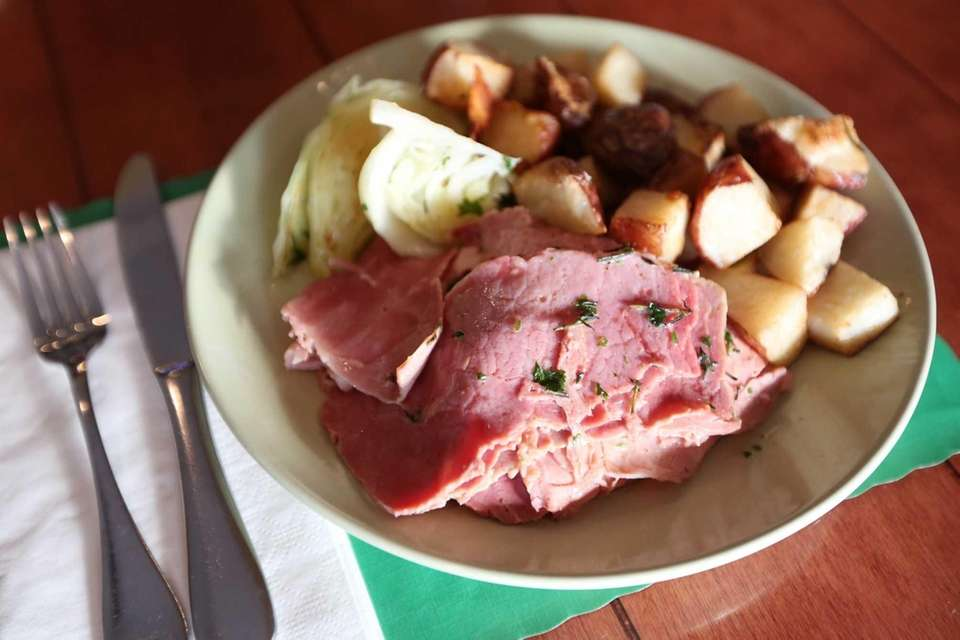 Traditional corned beef and cabbage is on the