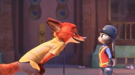 Officer Judy Hopps faces off with Nick Wilde,