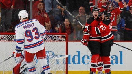 Sergey Kalinin of the New Jersey Devils celebrates
