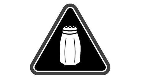 A high sodium warning symbol, a saltshaker, will