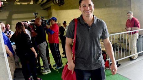 New York Yankees Jacoby Ellsbury leaves the locker